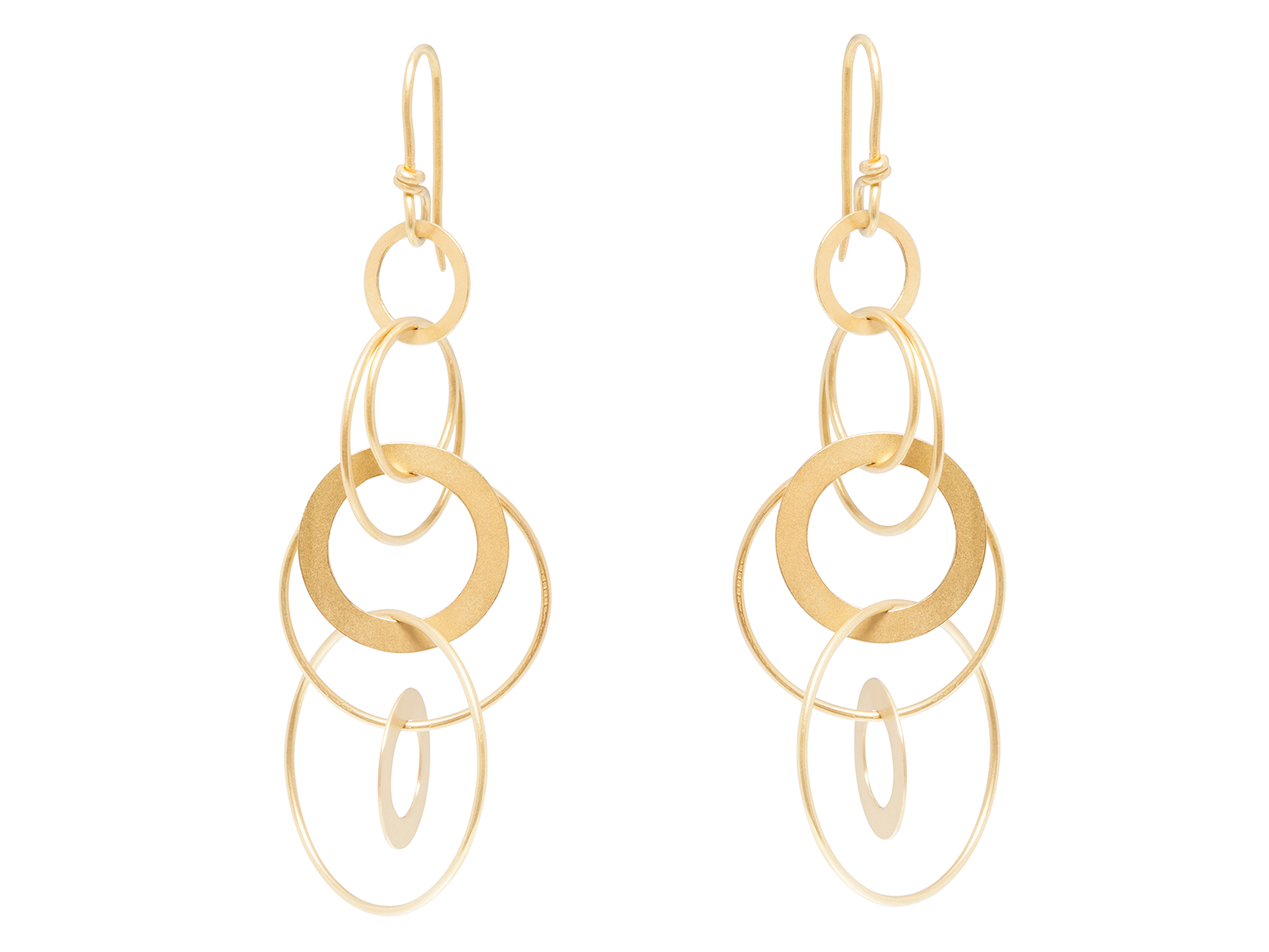 e mattegold thin metal earrings gold matte hoop